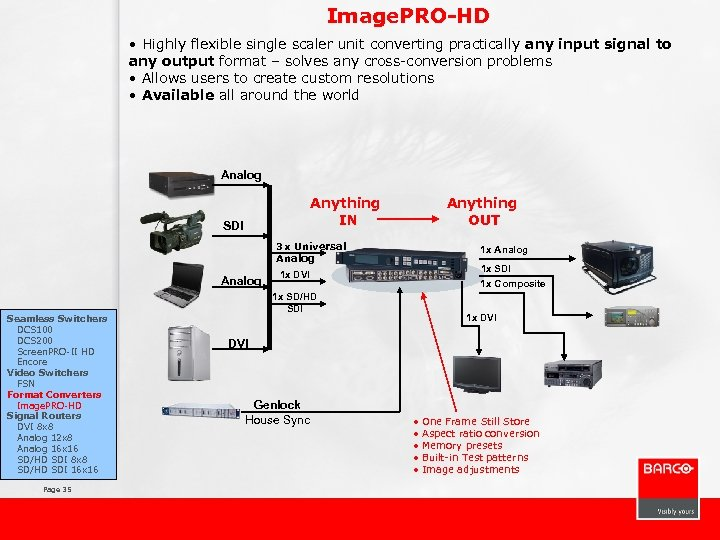 Image. PRO-HD • Highly flexible single scaler unit converting practically any input signal to