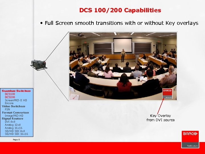 DCS 100/200 Capabilities • Full Screen smooth transitions with or without Key overlays Seamless