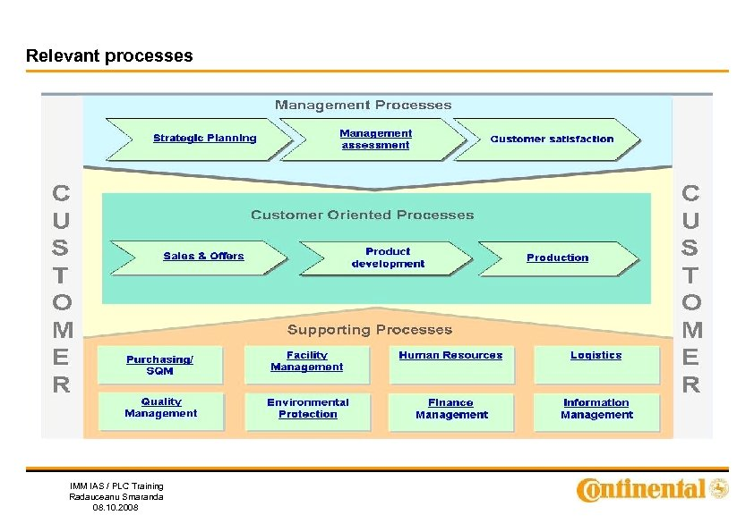 Relevant processes IMM IAS / PLC Training Radauceanu Smaranda 08. 10. 2008