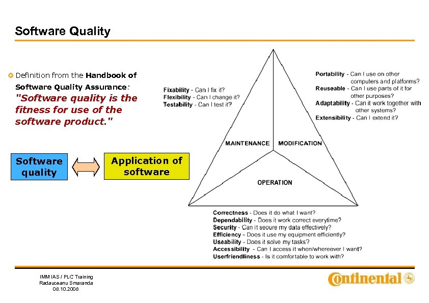 Software Quality Definition from the Handbook of Software Quality Assurance: