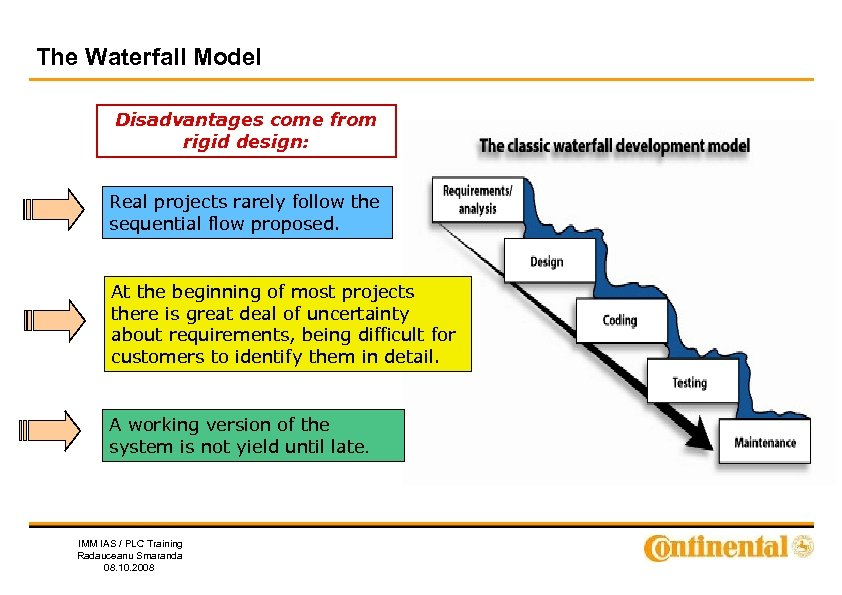 The Waterfall Model Disadvantages come from rigid design: Real projects rarely follow the sequential