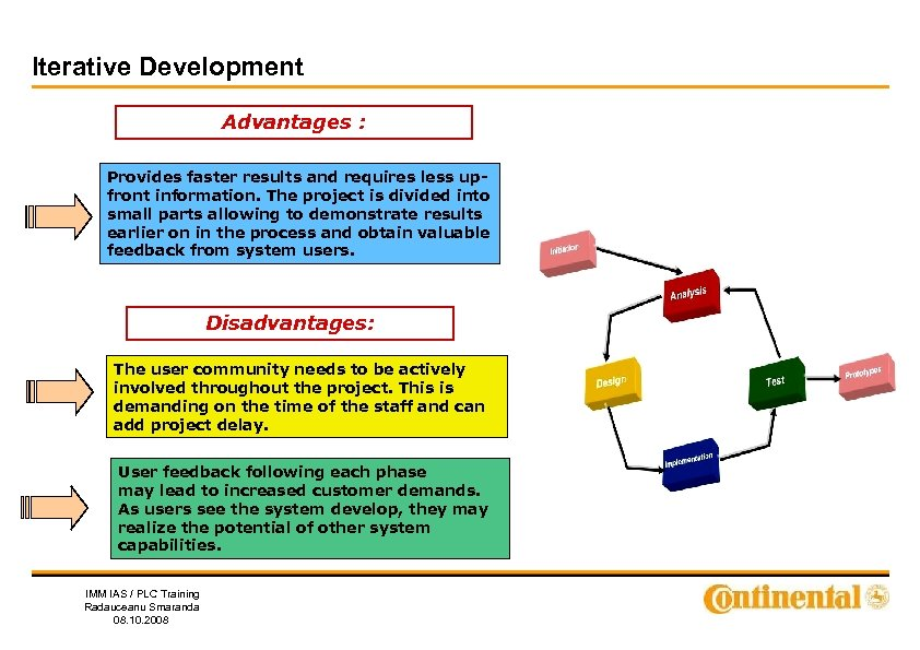 Iterative Development Advantages : Provides faster results and requires less upfront information. The project