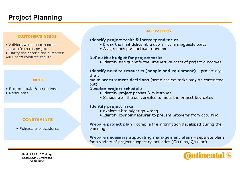 Project Planning ACTIVITIES CUSTOMER'S NEEDS • Validate what the customer expects from the project