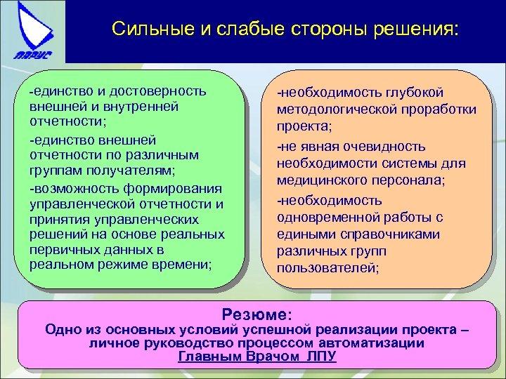 Сильные и слабые стороны решения: -единство и достоверность внешней и внутренней отчетности; -единство внешней