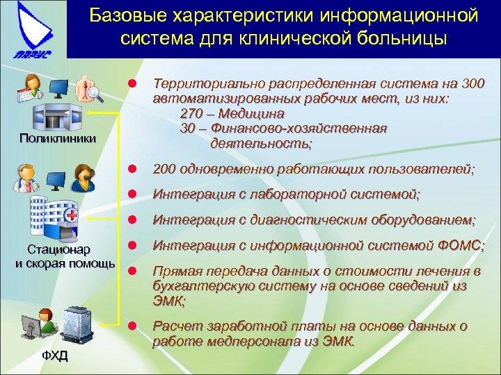 Базовые характеристики информационной система для клинической больницы l Территориально распределенная система на 300 автоматизированных