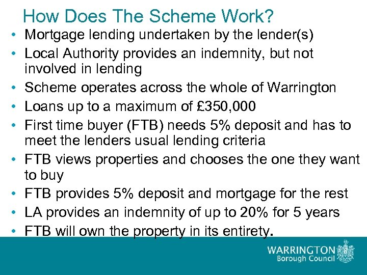How Does The Scheme Work? • Mortgage lending undertaken by the lender(s) • Local