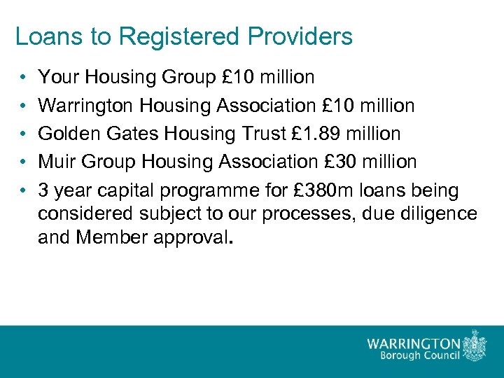 Loans to Registered Providers • • • Your Housing Group £ 10 million Warrington