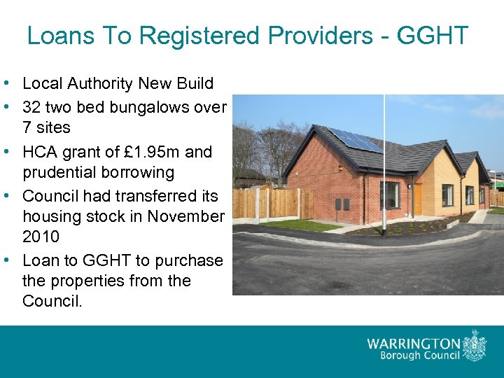 Loans To Registered Providers - GGHT • Local Authority New Build • 32 two