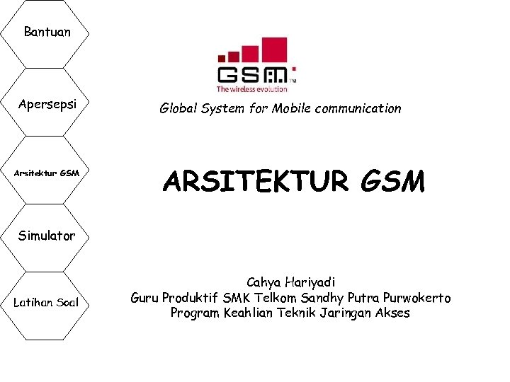 Bantuan Apersepsi Arsitektur GSM Global System for Mobile communication ARSITEKTUR GSM Simulator Latihan Soal