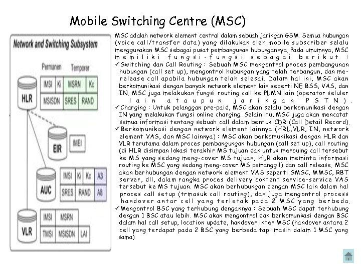 Mobile Switching Centre (MSC) MSC adalah network element central dalam sebuah jaringan GSM. Semua