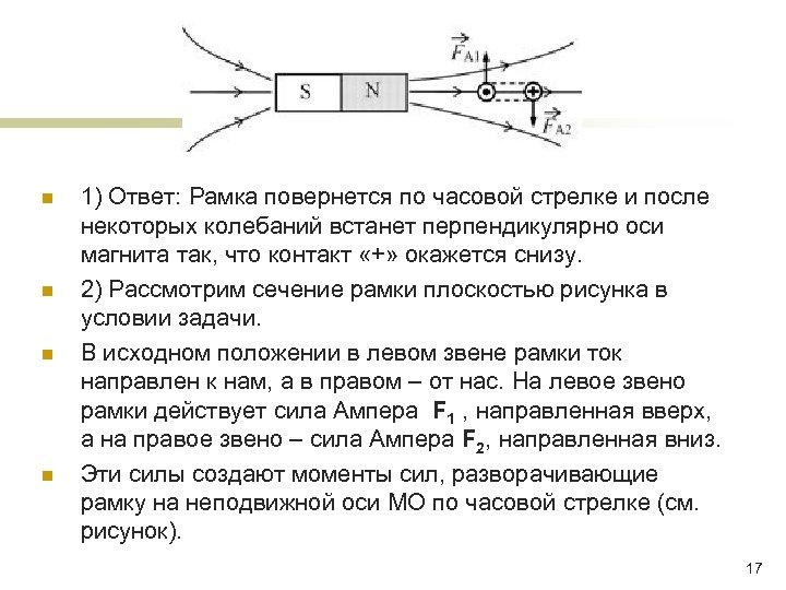 n n 1) Ответ: Рамка повернется по часовой стрелке и после некоторых колебаний встанет