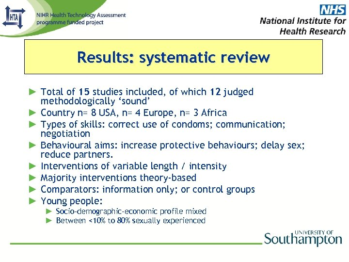 Results: systematic review ► Total of 15 studies included, of which 12 judged methodologically