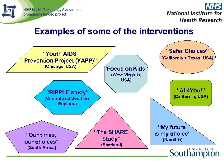 """Examples of some of the interventions """"Safer Choices"""" """"Youth AIDS Prevention Project (YAPP)"""" (Chicago,"""