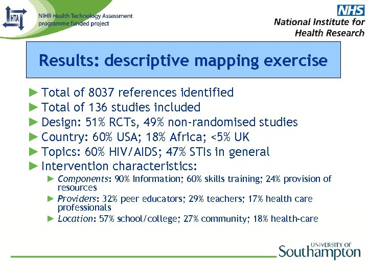 Results: descriptive mapping exercise ► Total of 8037 references identified ► Total of 136
