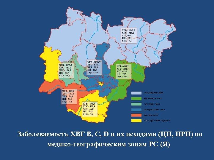 Заболеваемость ХВГ В, С, D и их исходами (ЦП, ПРП) по медико-географическим зонам