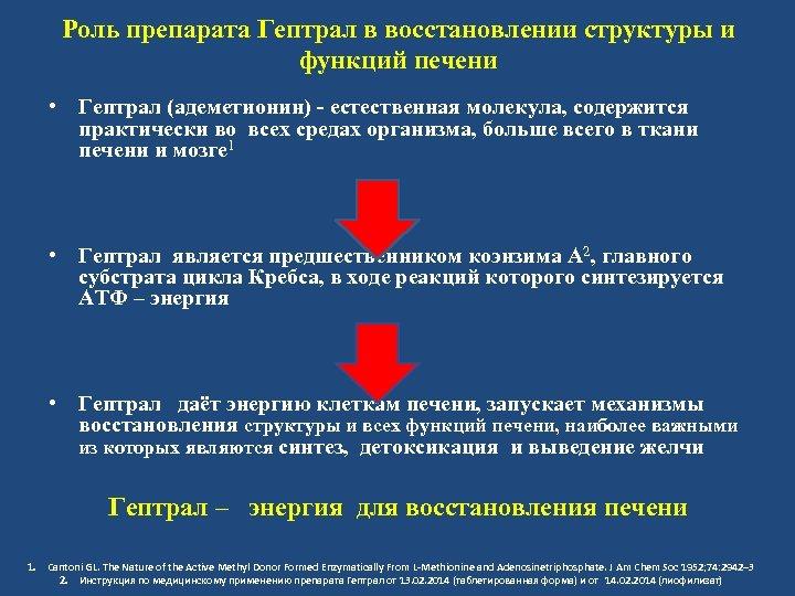 Роль препарата Гептрал в восстановлении структуры и функций печени • Гептрал (адеметионин) - естественная