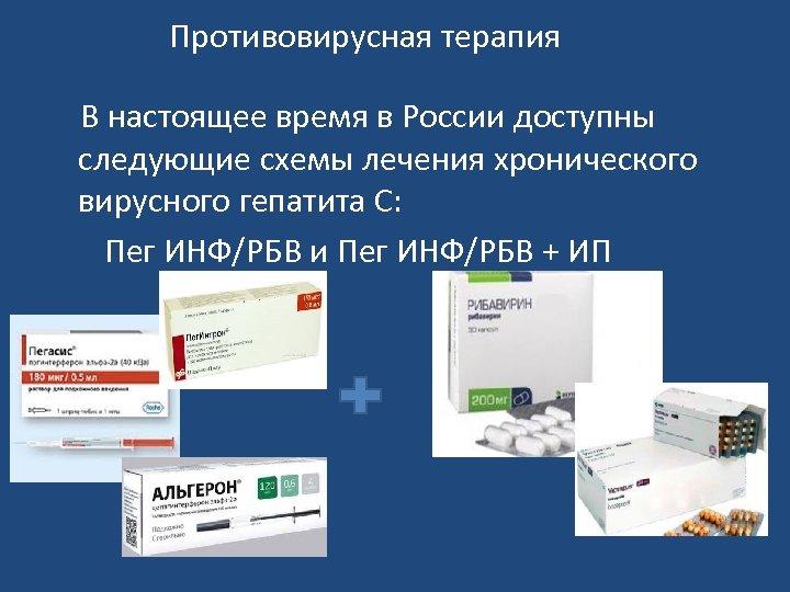 Противовирусная терапия В настоящее время в России доступны следующие схемы лечения хронического вирусного гепатита