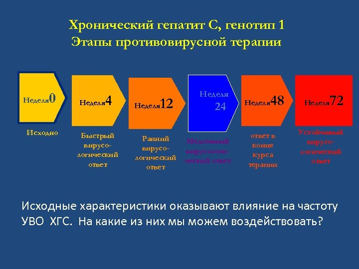 Хронический гепатит C, генотип 1 Этапы противовирусной терапии Неделя 0 Исходно Неделя 4 Быстрый