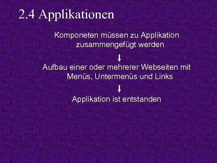 2. 4 Applikationen Komponeten müssen zu Applikation zusammengefügt werden Aufbau einer oder mehrerer Webseiten