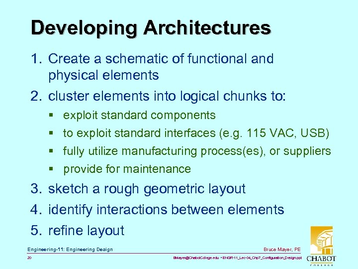 Developing Architectures 1. Create a schematic of functional and physical elements 2. cluster elements
