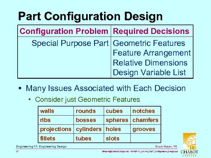 Part Configuration Design Configuration Problem Required Decisions Special Purpose Part Geometric Features Feature Arrangement