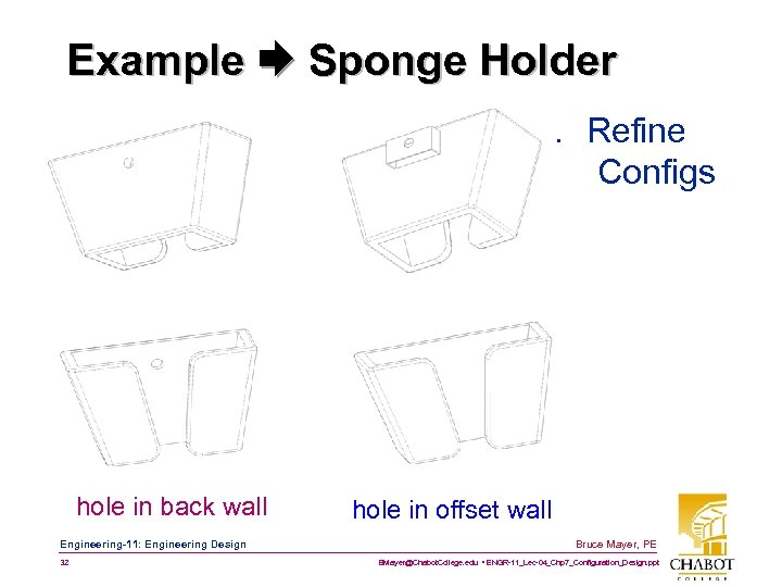 Example Sponge Holder 4. Refine Configs hole in back wall Engineering-11: Engineering Design 32