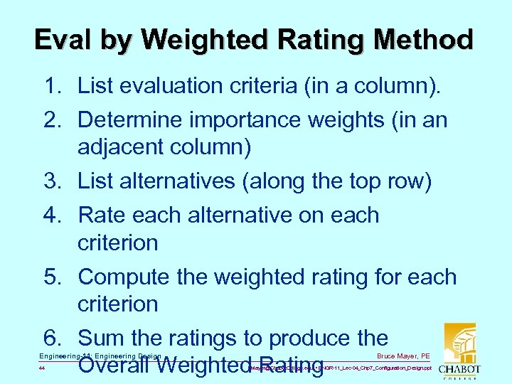 Eval by Weighted Rating Method 1. List evaluation criteria (in a column). 2. Determine