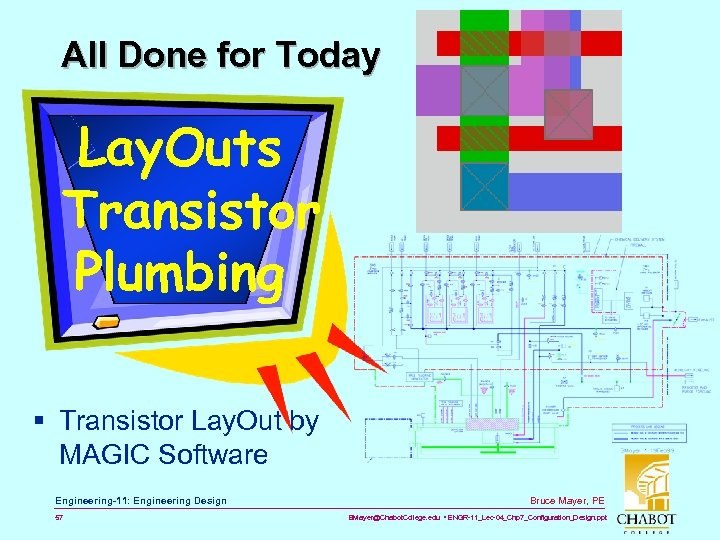All Done for Today Lay. Outs Transistor Plumbing § Transistor Lay. Out by MAGIC