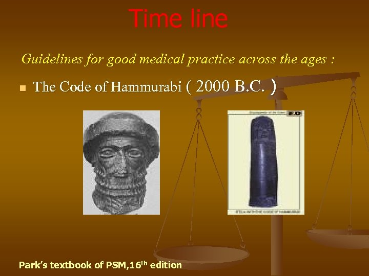 Time line Guidelines for good medical practice across the ages : n The Code