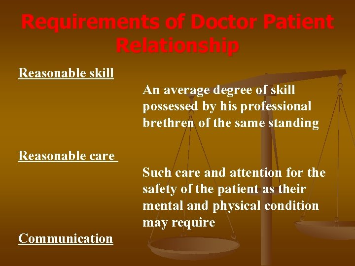 Requirements of Doctor Patient Relationship Reasonable skill An average degree of skill possessed by