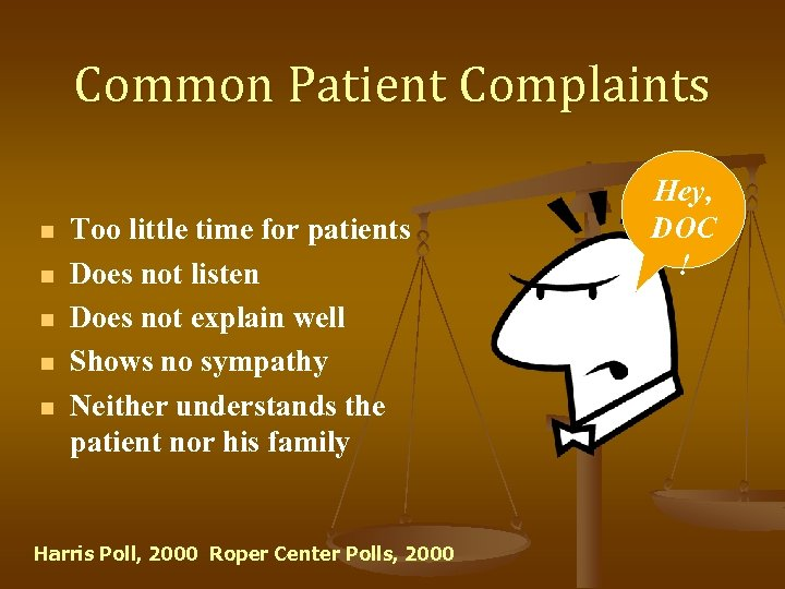 Common Patient Complaints n n n Too little time for patients Does not listen