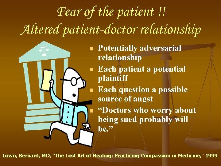 Fear of the patient !! Altered patient-doctor relationship n n Potentially adversarial relationship Each