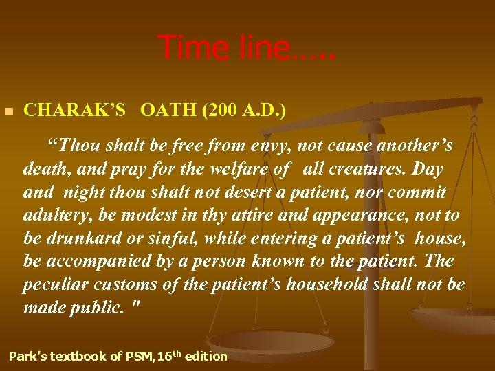 """Time line…. . n CHARAK'S OATH (200 A. D. ) """"Thou shalt be free"""