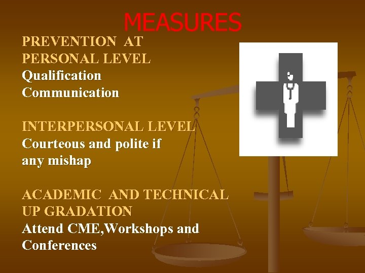 MEASURES PREVENTION AT PERSONAL LEVEL Qualification Communication INTERPERSONAL LEVEL Courteous and polite if any