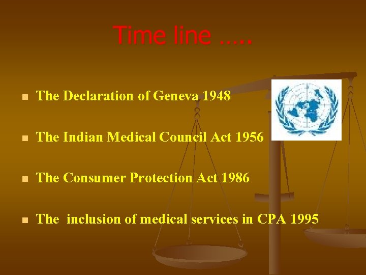 Time line …. . n The Declaration of Geneva 1948 n The Indian Medical