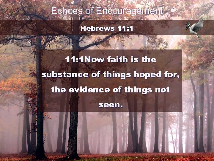 Echoes of Encouragement Hebrews 11: 1 Now faith is the substance of things hoped