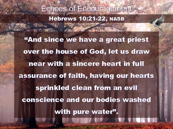 """Echoes of Encouragement Hebrews 10: 21 -22, NASB """"And since we have a great"""