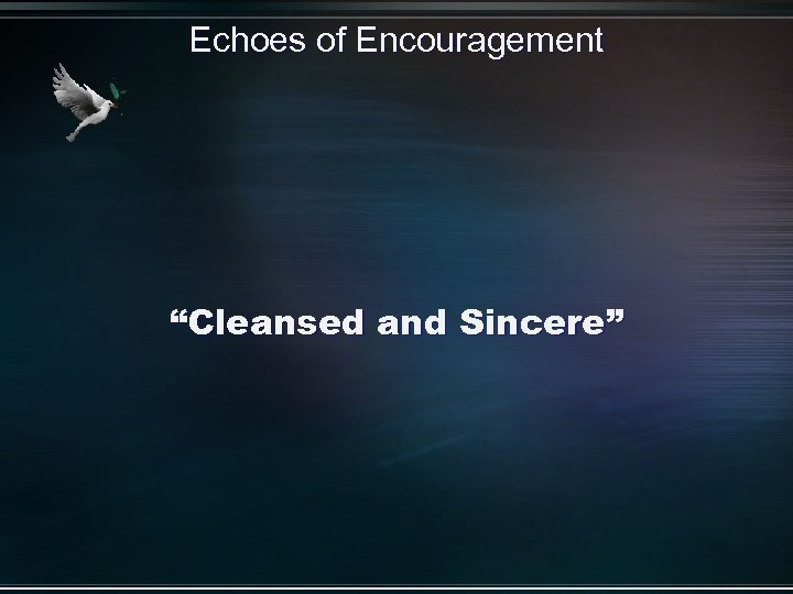 """Echoes of Encouragement """"Cleansed and Sincere"""""""