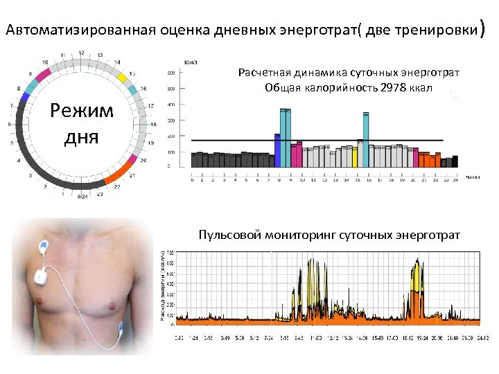 Автоматизированная оценка дневных энерготрат( две тренировки) Расчетная динамика суточных энерготрат Общая калорийность 2978 ккал