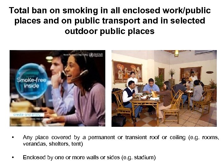 Total ban on smoking in all enclosed work/public places and on public transport and