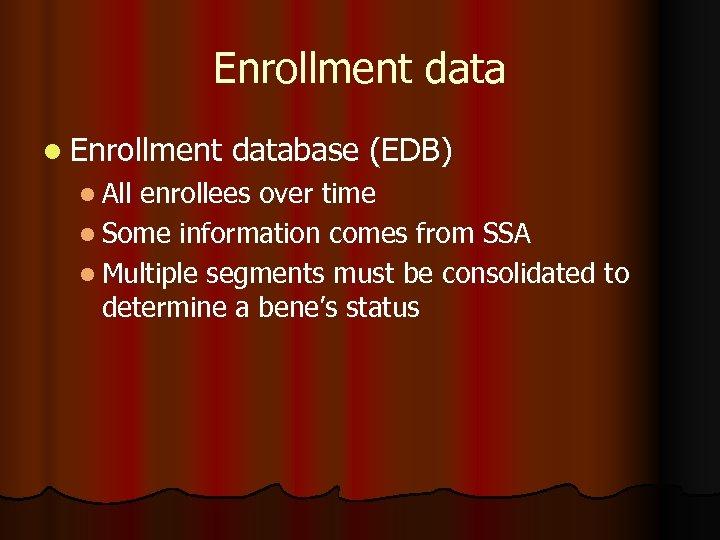 Enrollment data l Enrollment l All database (EDB) enrollees over time l Some information