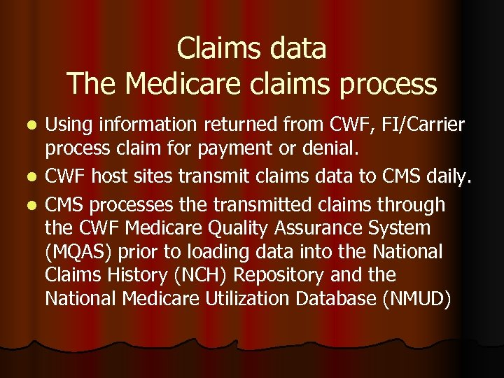 Claims data The Medicare claims process Using information returned from CWF, FI/Carrier process claim