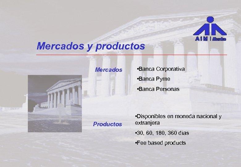 Mercados y productos Mercados • Banca Corporativa • Banca Pyme • Banca Personas Productos