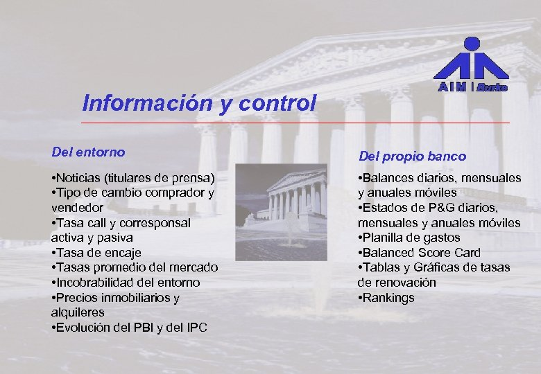 Información y control Del entorno Del propio banco • Noticias (titulares de prensa) •