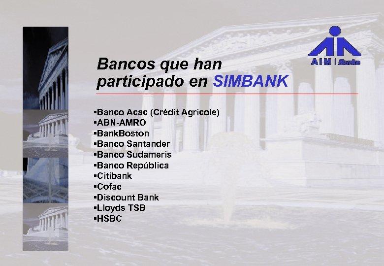 Bancos que han participado en SIMBANK §Banco Acac (Crédit Agricole) §ABN-AMRO §Bank. Boston §Banco