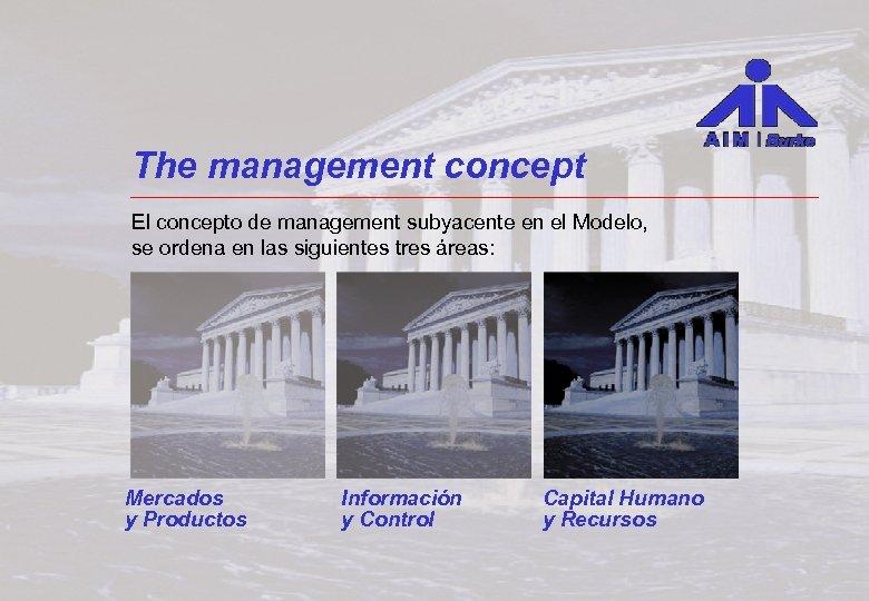The management concept El concepto de management subyacente en el Modelo, se ordena en