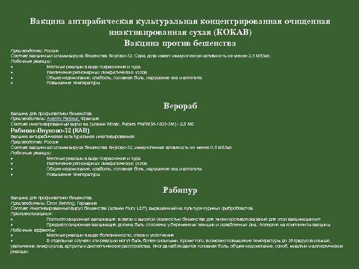 Вакцина антирабическая культуральная концентрированная очищенная инактивированная сухая (КОКАВ) Вакцина против бешенства Производство: Россия Состав: