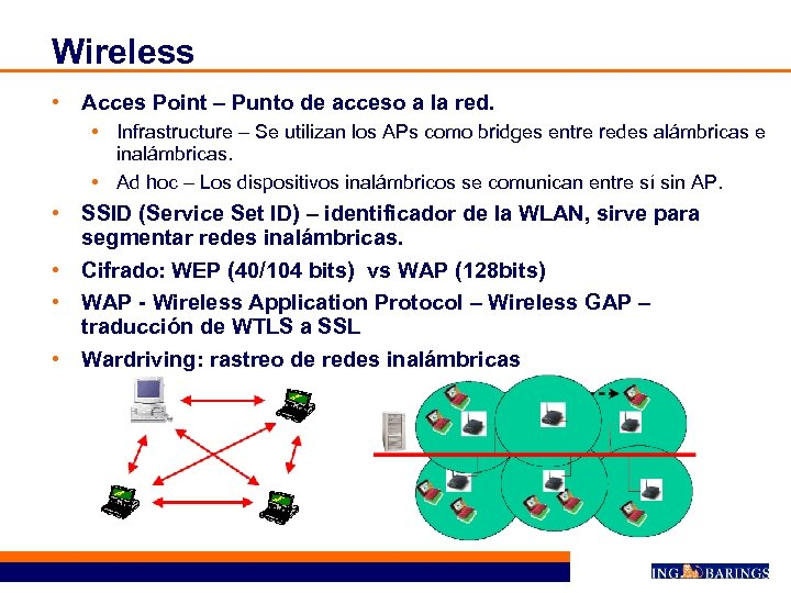 Wireless • Acces Point – Punto de acceso a la red. • Infrastructure –