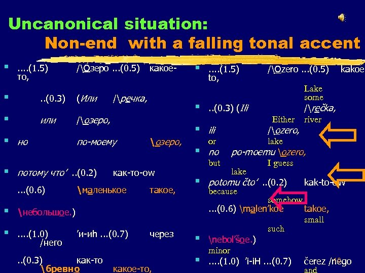 Uncanonical situation: Non-end with a falling tonal accent § . . (1. 5) то,
