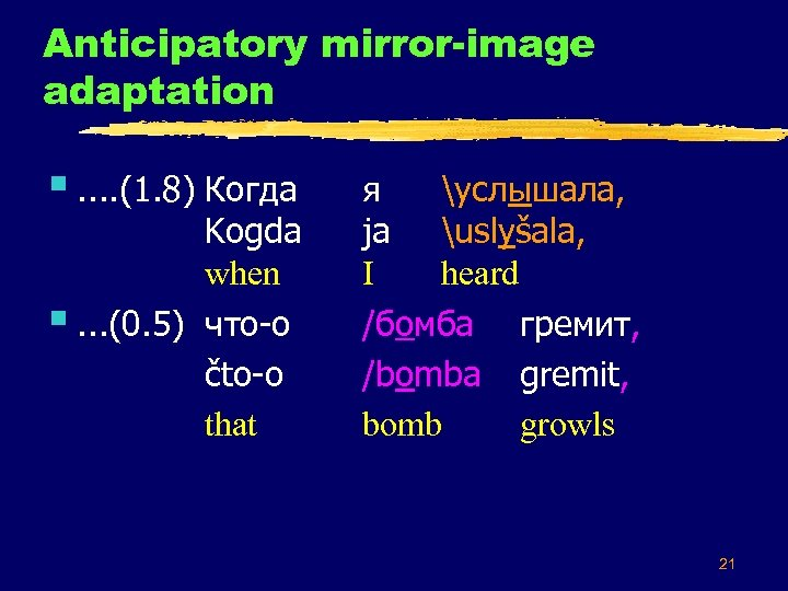 Anticipatory mirror-image adaptation §. . (1. 8) Когда Kogda when §. . . (0.